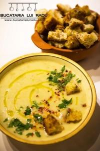 supa crema de cartofi creveti cu pancetta